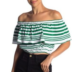 Tops - NWT🍍Off The Shoulder Green Stripe Ruffle Crop Top
